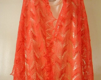 Salmon-rose (pink) lace stole