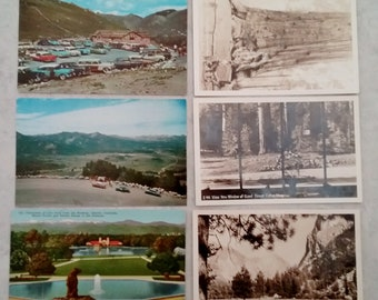 Vintage postcards, 6 unused postcards w/vintage 1950's-60's color & sepia-black/white photos, Colorado, Idaho, Wyoming, Calif Redwood Forest