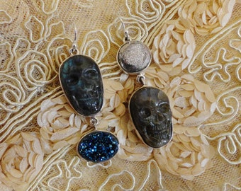 Labradorite Skull Earrings, One of a Kind, Hand Made, Goth Girl
