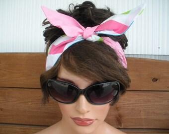 Womens Headband Dolly Bow Headband Accessories Women Head scarf Summer Headband in Multicolor Chevron and Pink Bandana