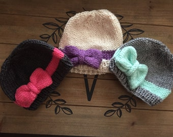 Knit bow baby hat, newborn hat, Childrens Knitted Hat, Baby Hat, infant and toddler hat with a knit bow, baby beanie with bow