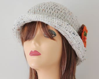 Crocheted Hat Oatmeal Cloche Hat