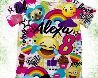 Personalized Emoji T-Shirt, Birthday Emoji Shirt, With or Without Birthday number, Custom Emoji birthday T-shirt, Birthday Shirts