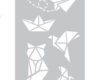 1 large static stencil fabric origami ref 226608