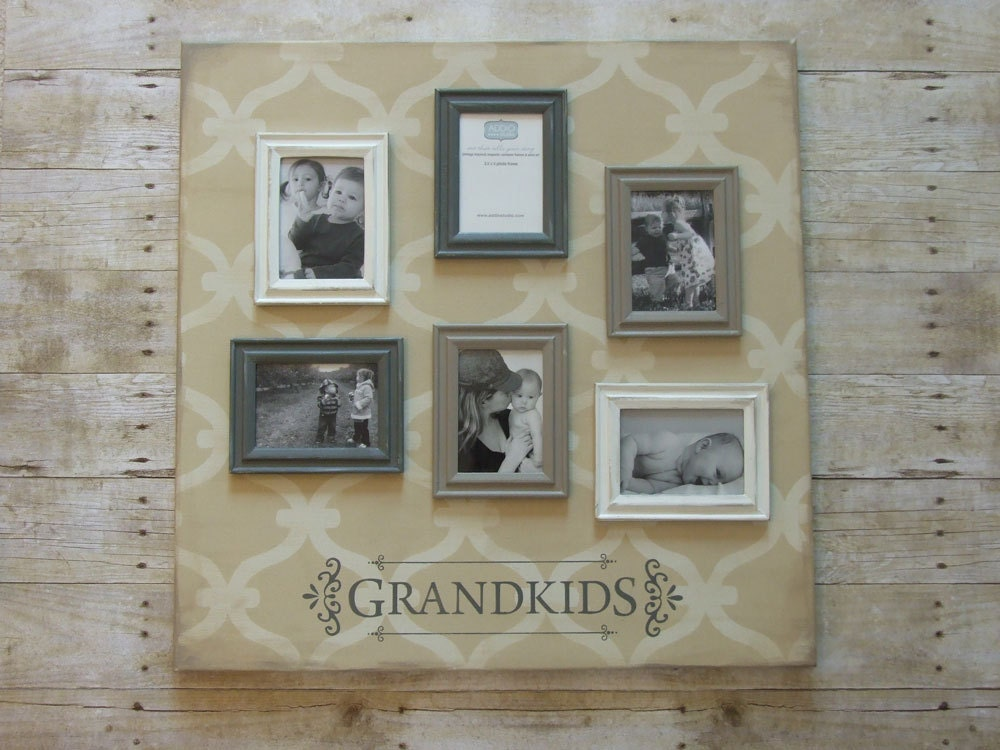 Grandkids photo frame collage. 24x24 inch magnetic canvas with