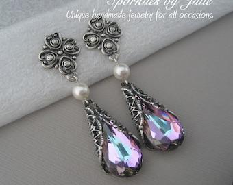 Vitrail Light Earrings, Antique Silver Victorian Filigree, Clover Filigree Earring Post, Teardrop Swarovski Crystal, Pink-Purple, Light Blue