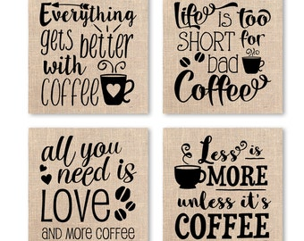 Coffee Wall Art, Set of 4 Coffee Prints, Coffee Lovers Gift