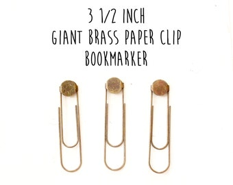 12 - Jumbo - Giant - Extra Large - Brass Paper Clip Bookmakers - Bookmarks - 15mm Glue pad - 3 1/2 inches - Antique Brass