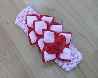Baby Girl Headband, Kanzashi Headband, Flower Headband, Baby Headband, Baby Hair Accessory, Pink Headband, Valentine Headband Heart Headband
