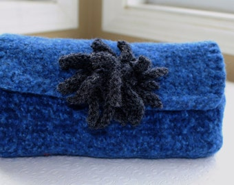 Fabric Lined Blue Gray Felted Wool Flower Clutch, Hand Knit Felt Purse, Fabric Lined Wool Clutch, Knit Felted Wool Clutch, Tweed Wool Clutch