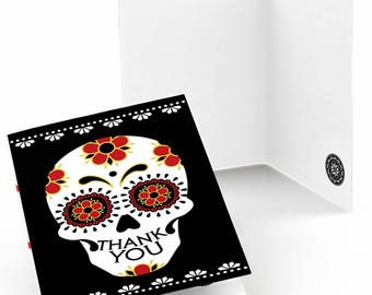 Day Of The Dead Thank You Cards -Halloween Sugar Skulls Party Supplies - Calaveras Thank You Cards - Dia de los Muertos - Set of 8 Cards