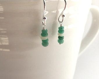 Emerald May Earrings/Opal Emerald Earrings/May Birthstone/Green Gemstone Jewellery/Emerald Bar Earrings/Loyalty friendship Earrings