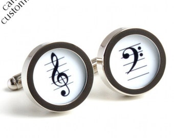 Cufflinks for Musicians Treble Clef and Bass Clef in Black and White PC396