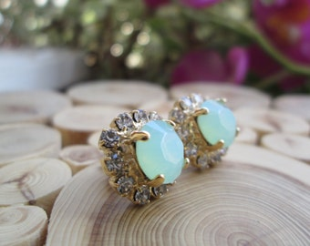 Mint Opal Green drop earrings, Mint droplet Swarovski earrings, imperialistic drop earrings, bridesmaids earrings, Rhinestone earrings
