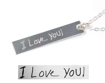 Handwriting Necklace - Actual Handwriting Jewelry - Personalized Bar Necklace - Silver Tag Necklace - Engraved Tag Necklace
