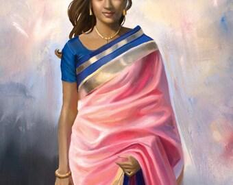 Portrait Pink Saree
