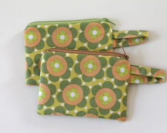 coin purse, pocket wallet, change purse, mini zipper pouch, earbud pouch, business card holder, green peach color, id holder, small bag