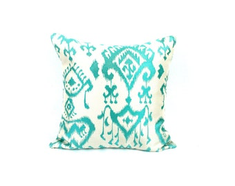 Turquoise Teal Ikat Print 18x18 Pillow Cover