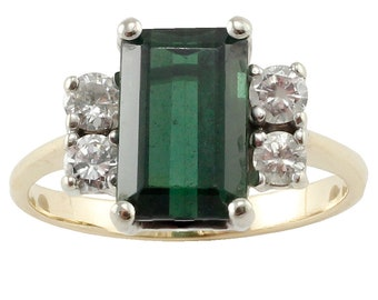 Sour Apple Green Tourmaline & Diamond Ring