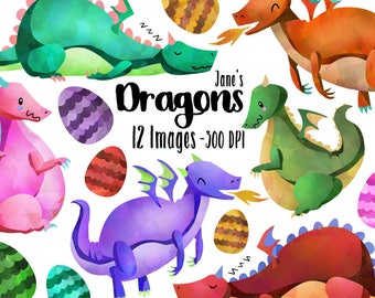 Watercolor Dragons Clipart - Watercolor Dragons Download - Instant Download - Cute Hand Drawn Dragon Eggs