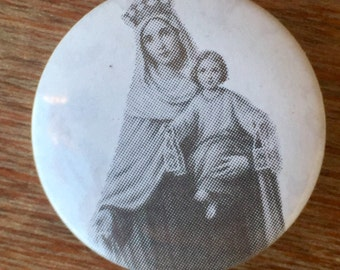 Madonna and Child Pinback Button, Free Shipping