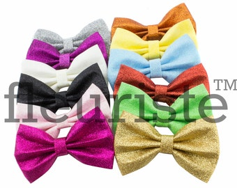 Glitter Bows, Large Bows, Sparkle Bows, Hard Bows, diy Bows, DIY Hair Bows, Fabric Bows, Wholesale Bows, Diy Headband, 4 inch, Choose Colors