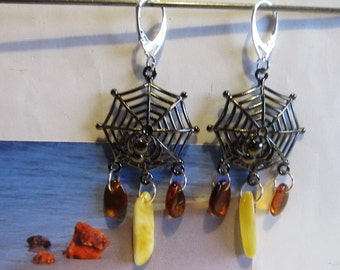 Amber Earrings Web Spider Natural Baltic beads yellow opaque and brown transparent Black Web, Silver color french clasp souvenir  present