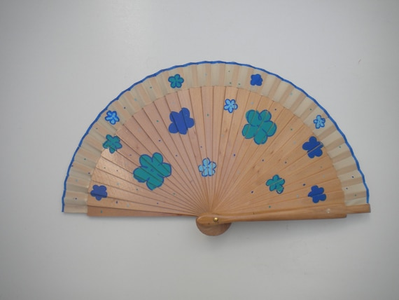 Floral Design Blue Natural Wood SIZE OPTIONS Hand Fan Hand Painted by Kate Dengra Spain