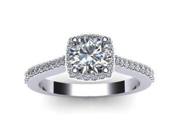 Diamond Halo Engagement Ring Moissanite Engagement Ring 14K White Gold Engagement Ring with 6mm Round Forever One Moissanite Center - V1082