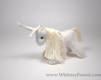 Miniature White Felt Toy Unicorn