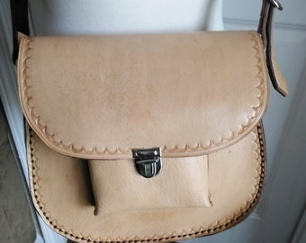 Handmade Tan Leather Purse-Handbag