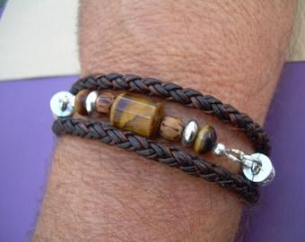 Braided Leather and Gemstone Triple Wrap Bracelet, Leather Bracelet, Mens Jewelry, Womens Jewelry, Mens Bracelet, Womens Bracelet