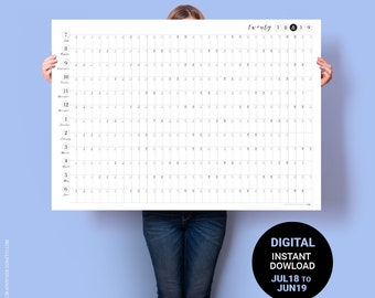Wall Calendar 2018 2019. PRINTABLE Midyear Calendar - JULY to JUNE. Australia Financial Year A1 Poster. Minimalist Business Planner Academic
