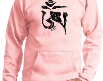 Yoga Clothing For You Mens Yoga Black Tibetan OM Hoodie - PC90H-BTIBET