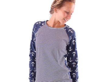 "Pullover ""Pauline"" dark Blue Anchor/dark blue white striped"