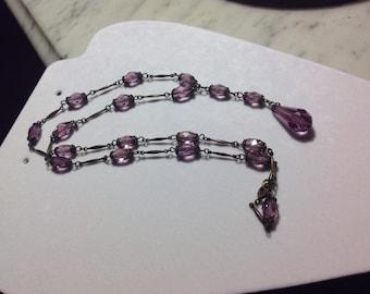 """Vintage Victorian Purple Dangle Necklace 23"""""""