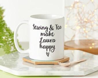 Crafts And Tea Make Me Happy Mug - Personalized Mug - Gift for Friend - Gift for Crafter - Gift for Her - Birthday Gift - MUG055