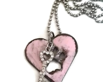 Pink Heart Pendant Necklace / Dog Paw Print /Pet Lovers Gift
