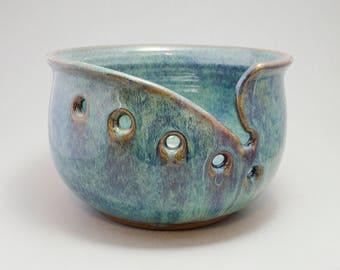 Large pottery yarn bowl, knitting bowl