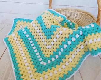 Crochet baby blanket - turquoise granny square blanket - turquoise yellow and white baby afghan - nursery decor - baby shower