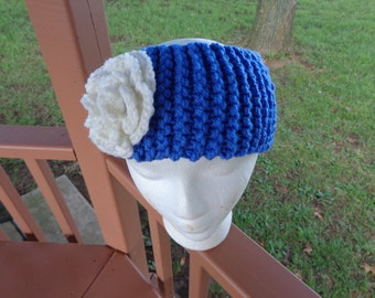 Chunky Knitted Headband in Iris with White Flower