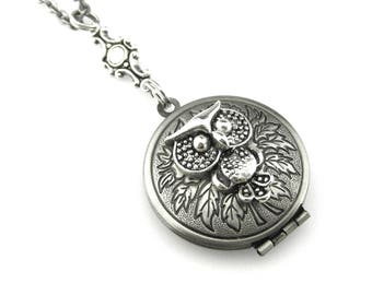 Owl Locket Pendant - Picture Locket - Animal Locket - Owl Locket Pendant - Edwardian Locket - Bird Locket Necklace - Gift Idea for her