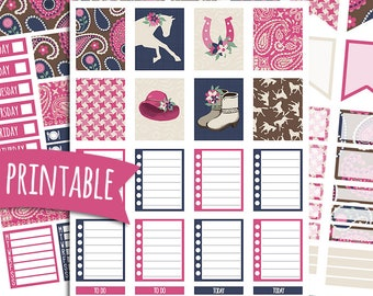 Little Bit Country PRINTABLE Planner Stickers for Erin Condren Vertical | Sticker Printables | Horse Stickers | Kentucky Derby Stickers