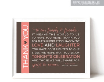 thank you wedding sign, guest thank you, to our guests, wedding sign, thank you tag, PRINTABLE or PRINTED CARDS