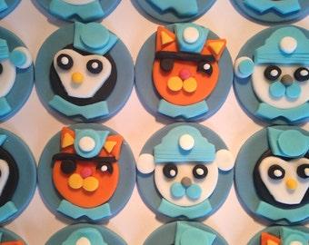 Edible Fondant Octonauts Cupcake Toppers - Captain Barnacles Bear, Kwazii Kitten and Peso Penguin