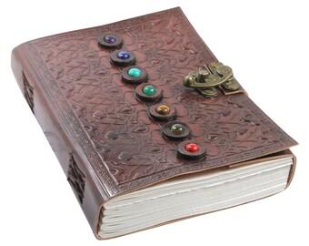 Genuine Leather Gem Stone Embossed Journal