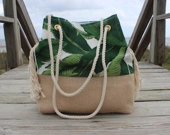 Palm Leaf Beach Bag - Personalized Beach Bag Bag - Monogrammed Tote Bag - Destination Wedding Bag - Tropical Bag - Bridesmaid Gift