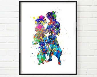 Disney Aladdin and Jasmine PRINT Watercolor Art Disney Princess Watercolor Art, Kids Decor,Nursery Decor  Instant Download, Kids Room Decor