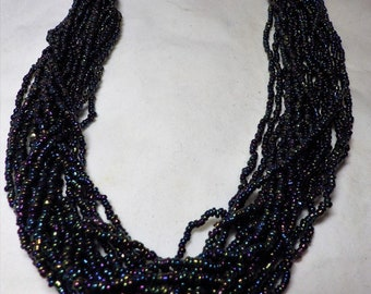 1980s Multi 18 Strand Statement Necklace Black Luster Beads
