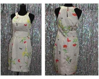 90's Tan Butterfly Vintage Dress (8)